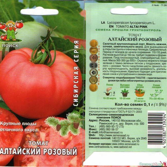 Описание позднеспелого томата Алтайский розовый и рекомендации по выращиванию гибрида