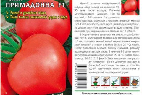 Томат Примадонна F1 — описание сорта гибрида, характеристика, урожайность, отзывы, фото